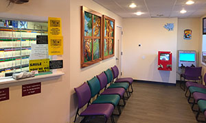 Reception area for Hampton Pediatric Dental Associates in Southampton, NY