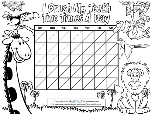 Coloring pages of teeth brushing charts ~ First Visit - Pediatric Dentist in Southampton, NY.